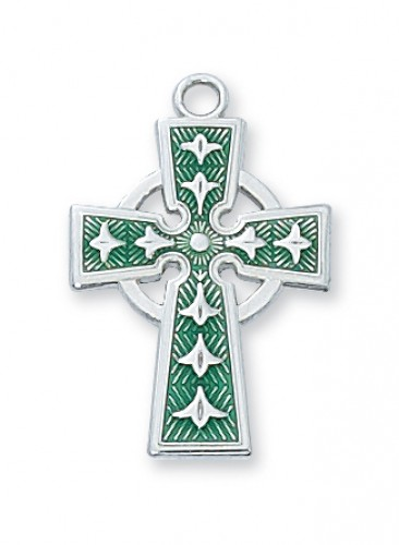 Sterling Silver Green Celtic Cross 18 Ch""