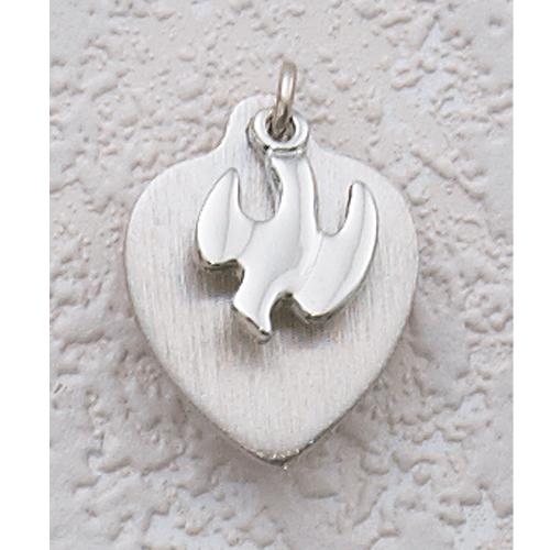 Sterling Silver Holy Spirit Heart Pendant
