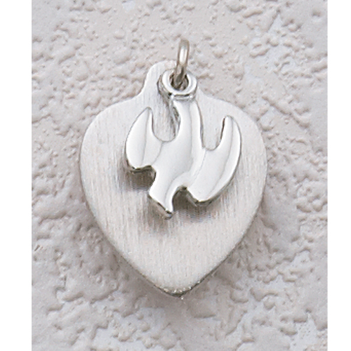Sterling Silver Holy Spirit Heart Pendant