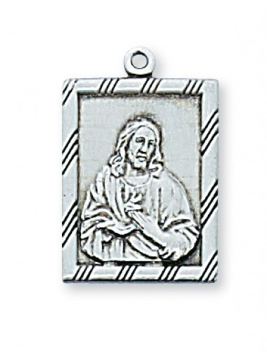 Sterling Silver Sacred Heart 18Ch/Bx""