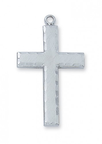 "Sterling Silver Eng Cross with 24"" Chain"