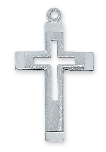 "Sterling Silver Cut Out Cross with 18"" Chain"