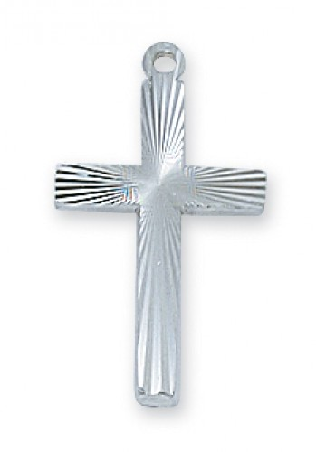 Sterling Silver Cross with Starburst  18-inch Chain""