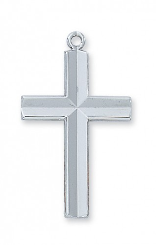 Sterling Silver Engraved Cross 24 Chain""