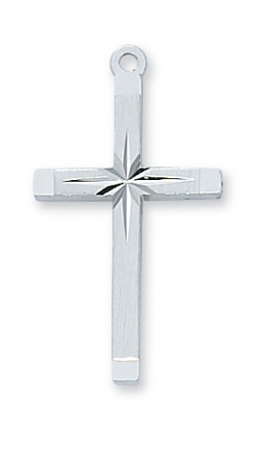 "Sterling Silver Starburst Cross with 18"" Chain"