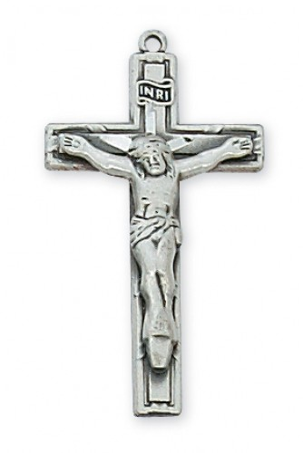 "Sterling Silver Small Crucifix 18"" Chain & Box"