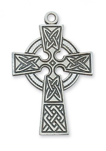 Sterling Silver Celtic Cross 24 Chain & Box
