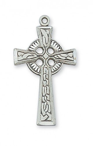"Sterling Silver Celtic Cross with 18"" Chain"