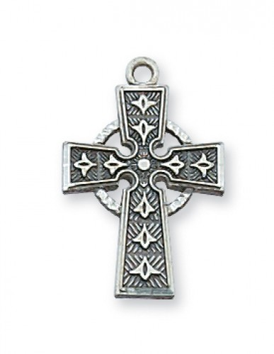 "Sterling Silver Celtic Cross  18-inch Chain&Box"""