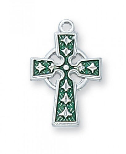 "Sterling Silver Celtic Cross with Enamel 16"","
