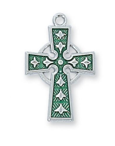 """Sterling Silver Celtic Cross Enamel 18 Ch"""""""