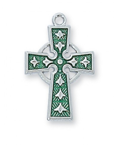 Sterling Silver Celtic Cross Enamel 18 Ch""