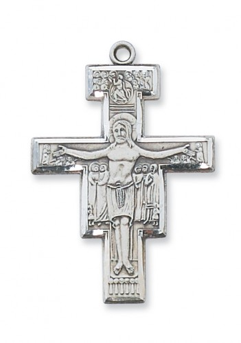"Sterling Silver San Damiano Crucifix with 20"" Chain"