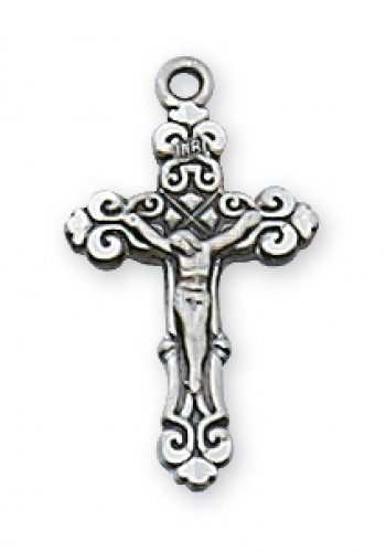 "Sterling Silver Crucifix 13"" Chain/Bt"""