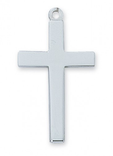 Sterling Silver Block Cross 20with Chain""