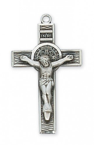 """Sterling Silver St Benedict with 18"""" Chain"""