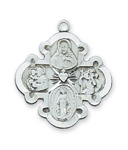 """Sterling Silver 4-Way Medal with 20"""" Chain"""