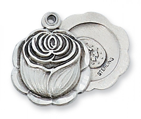 "Sterling Silver Miraculous Rosebud with 18"" Chain"