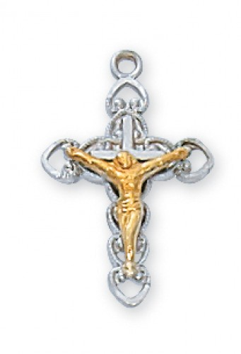 "Sterling Silver Tutone Crucifix 16"" Chain"