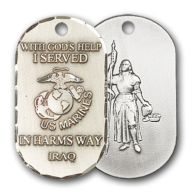 Sterling Silver Marines Iraq/St Joan of Arc Pendan