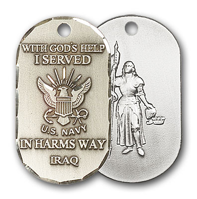 Sterling Silver Navy Iraq / St Joan of Arc Pendant