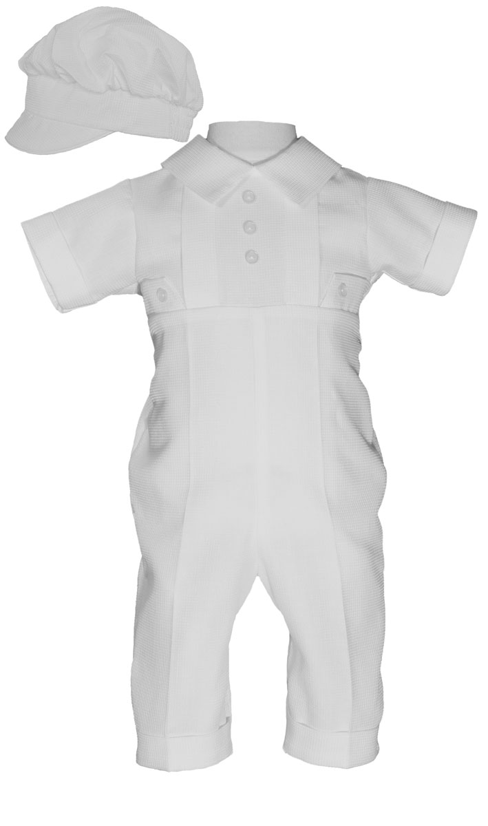 Boys Waffle Pique Christening Baptism Coverall