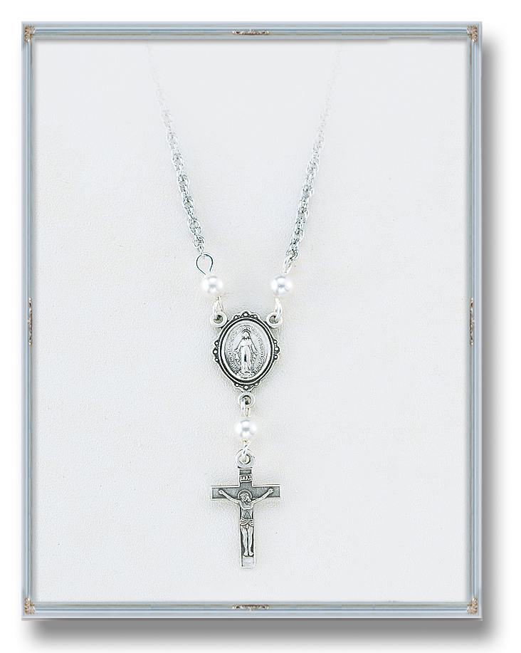 "4mm White Swarovski Pearl Pendant with Sterling Silver Miraculous Medal and Crucifix 18"" Chain"