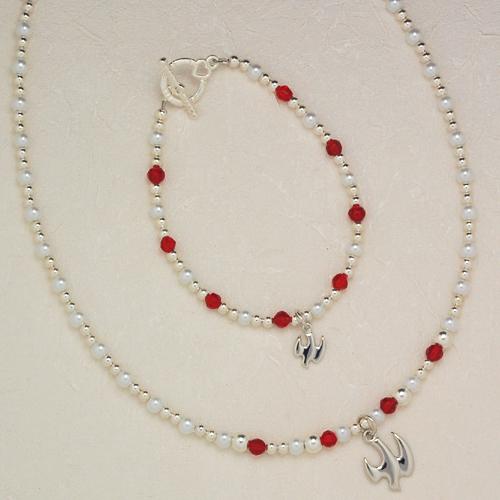 "18"" Red & Pearl Pend/Bracelet Set"