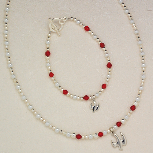 "18"" Red & Pearl Pend/Bracelet Set"
