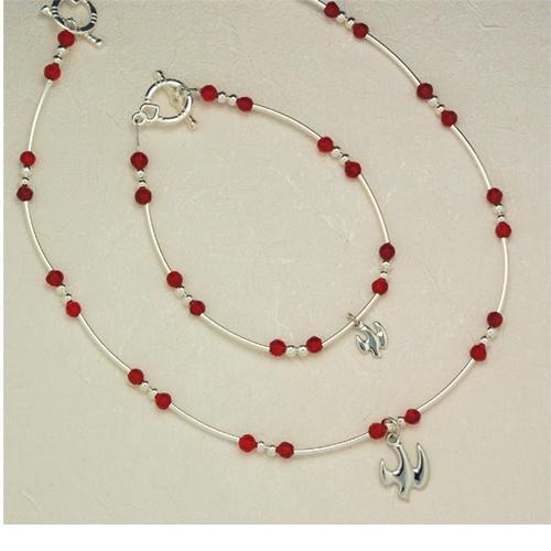 """18"""" Red Hsp Pend/Bracelet Set"""