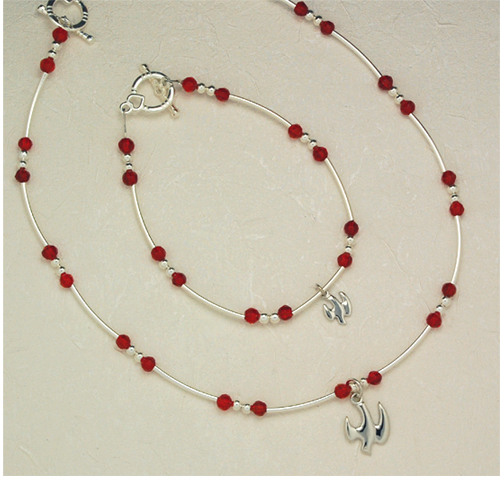 "18"" Red Hsp Pend/Bracelet Set"