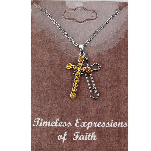 Topaz Rhinestone Cross