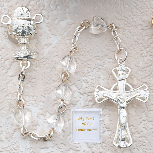 Crystal Heart Communion Rosary/Boxed
