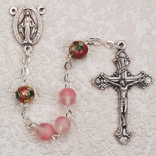 Pink Rosary with Pink Cloisonne