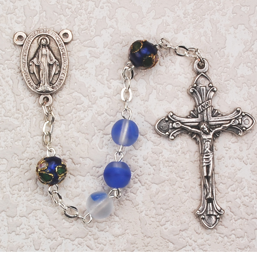 7MM Blue Frosted Rosary