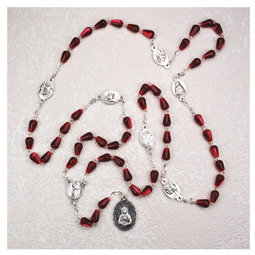 Red Teardrop 7 Sorrows Chaplet