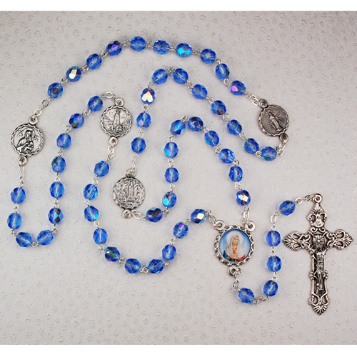 7MM Blue Marian Rosary