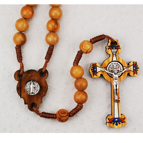 Olive Wood St Benedict Rosary