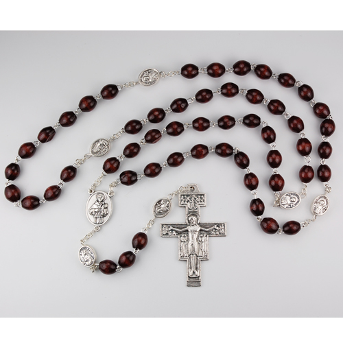 6X8MM Wood San Damiano Rosary