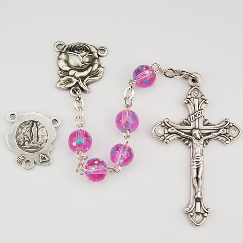 6MM Pink Speckled Rosary