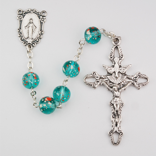 8MM Aqua Speckeled Rosary/F Bx
