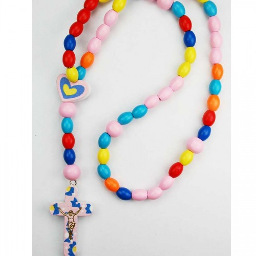 Multi Color Wood Baby Rosary