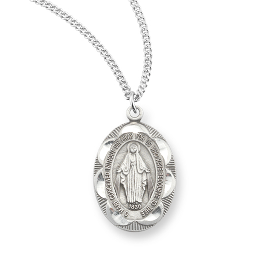 "1"" Miraculous Medal Pewter Pendant On 18"" Chain"