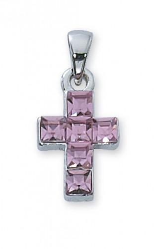 "18"" Pink Rhinestone Cross/Box"""