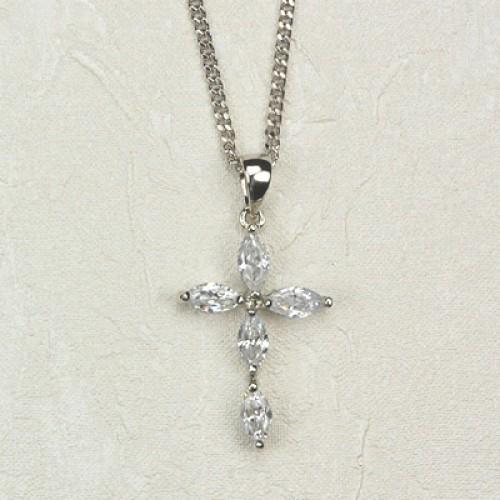 "18"" Crystal Cross 18""Chain/Carded"""