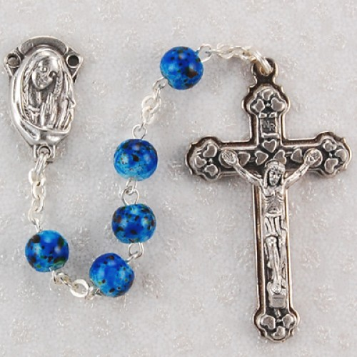 6MM Blue Swirl Rosary