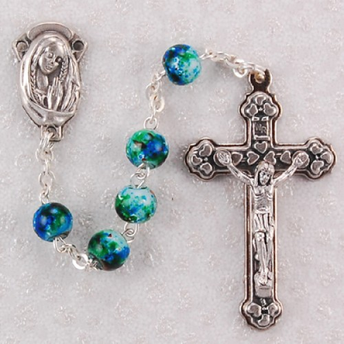 6MM Green Swirl Rosary