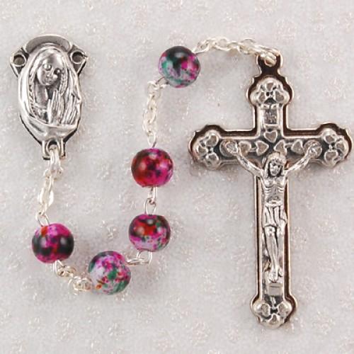 6MM Pink Swirl Rosary