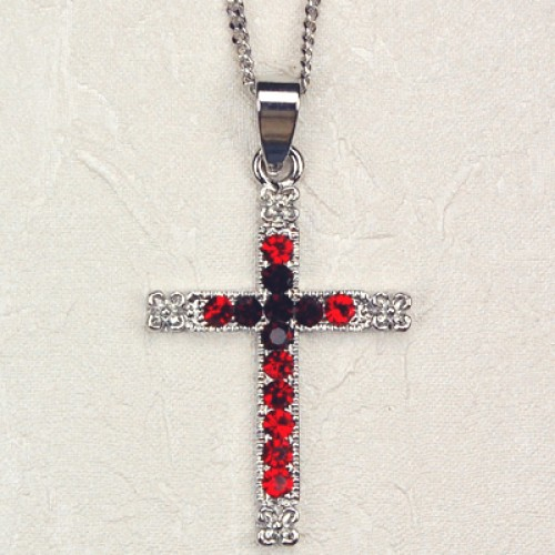 Red Crystal Cross Carded