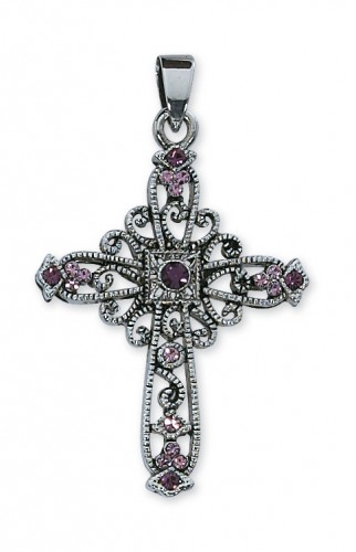 Purple Rhinestone Cross Boxed
